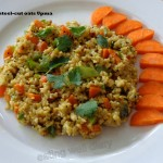 Speedy steel cut oats upma (savory snack with vegetables)