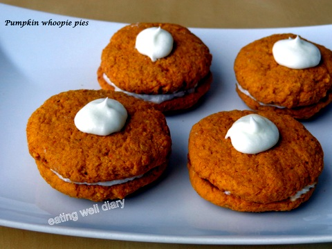 Pumpkin Whoopie pies (whole wheat, egg-free) Fall Recipe