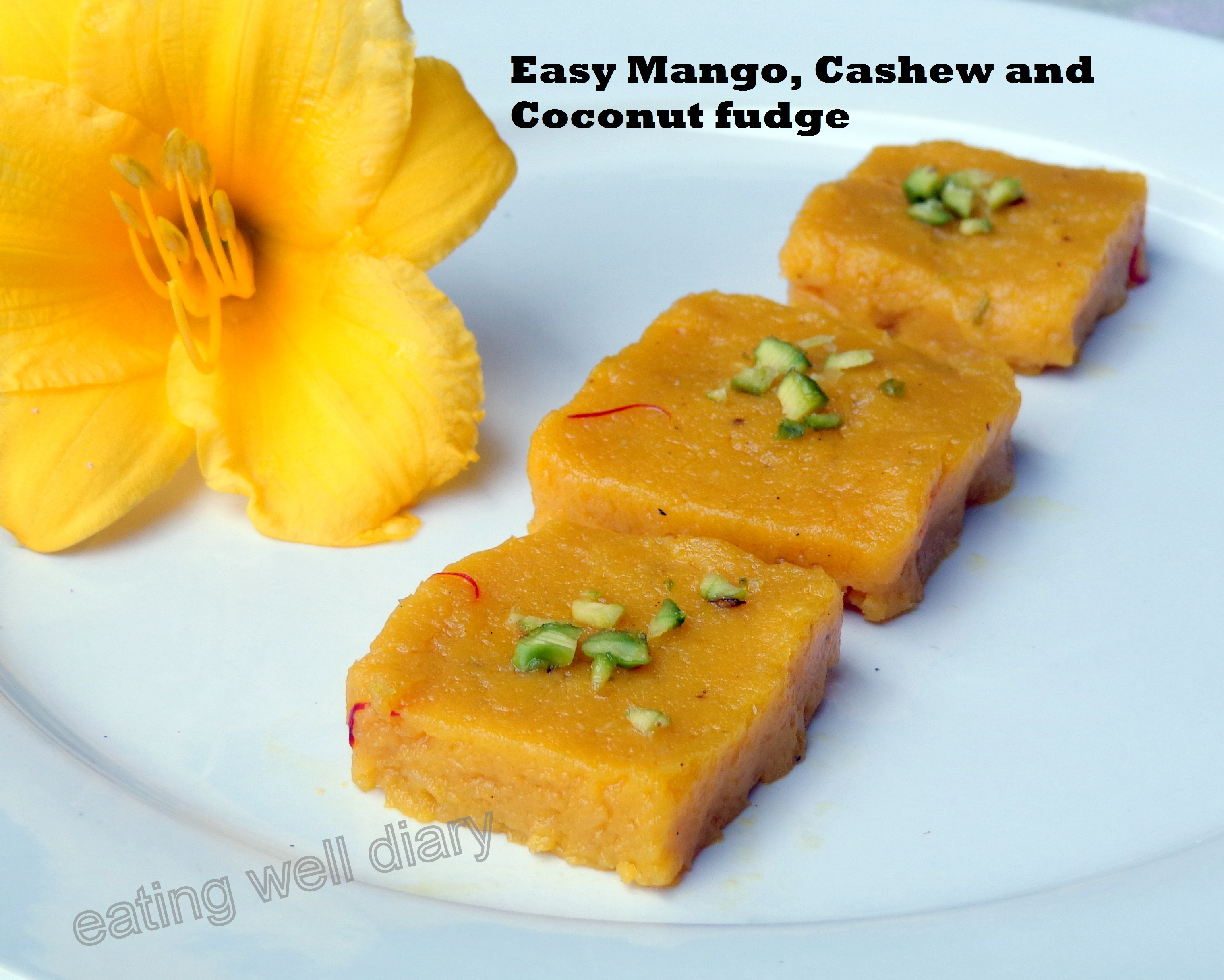 Easy Mango, Cashew and Coconut Halwa or Fudge