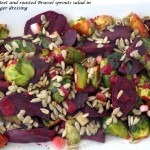 Grilled beet and brussel sprouts salad with miso-ginger dressing