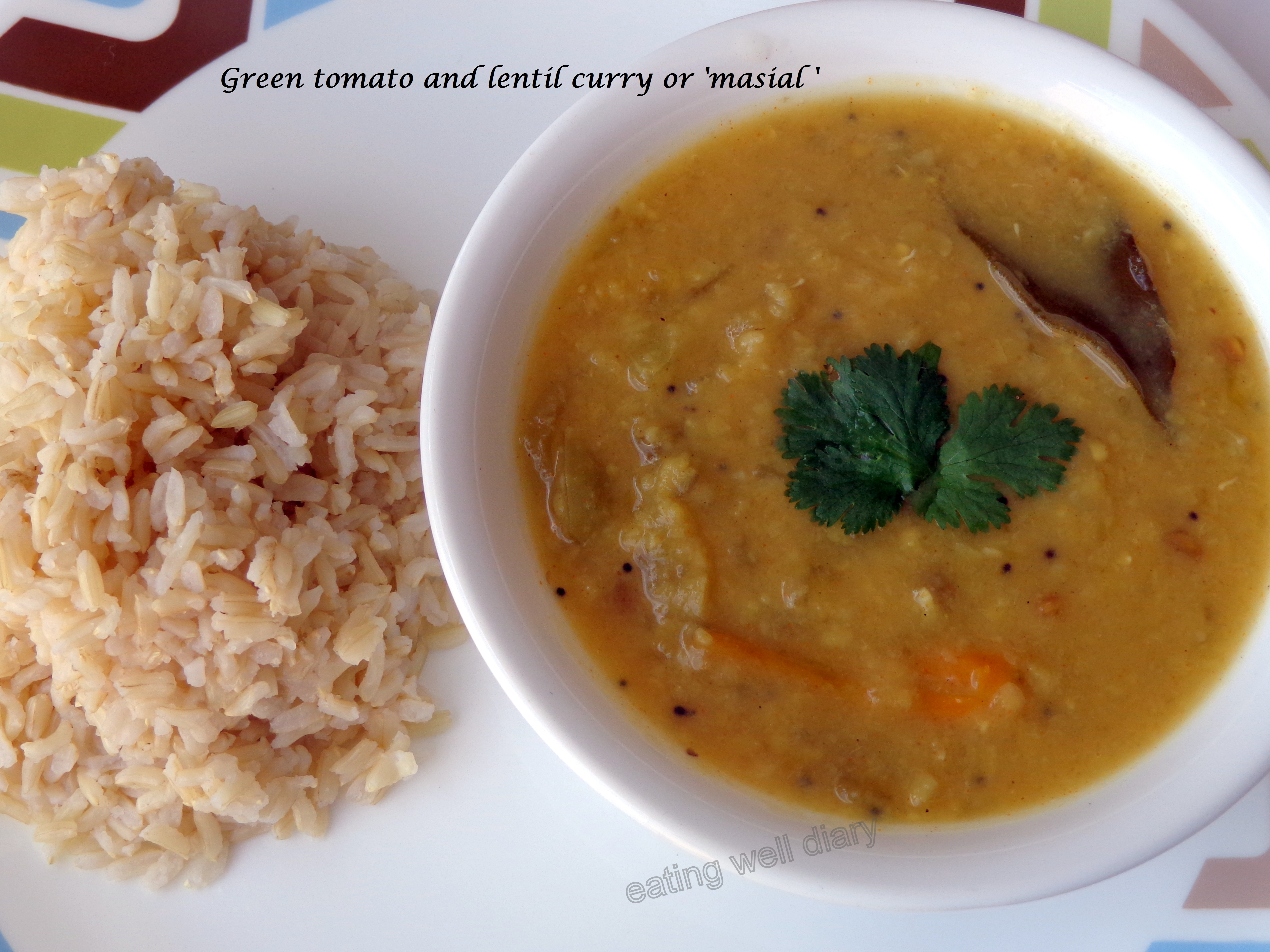 Green tomato and lentil curry or 'masial'