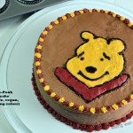 Winnie the Pooh Chocolate Birthday cake (gluten-free, vegan, natural icing colors)- Meatless Monday