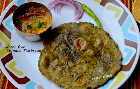 The Perfect Gluten-free Spinach Roti/ Flatbread for Diabetes Friendly Thursdays