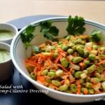 Protein packed Edamame Salad with Almond, Hemp & Cilantro Dressing