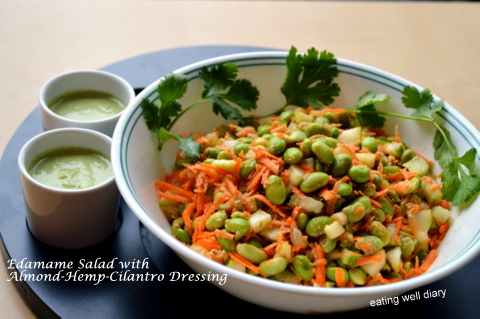 Protein packed Edamame Salad with Almond, Hemp & Cilantro Dressing