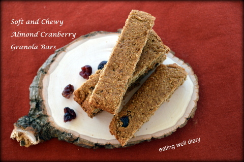 Soft and Chewy Cranberry Almond Granola Bars (gluten-free, vegan)